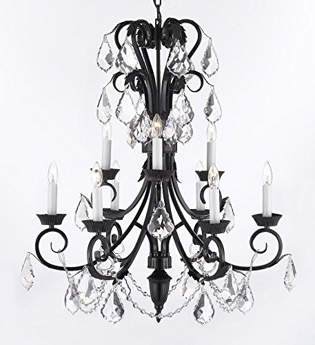 Foyer / Entryway Wrought Iron Empress Crystal (TM) Chandelier 30″ Inches Tall With Crystal! H 30″ x W 26″