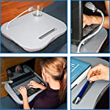 Laptop Desk with Light - Micro-Beaded Pillow Bottom Gray-Laptop Desk With Light-This Convenient Lap Desk with Light Will Make Every Work Session Easier and More Comfortable
