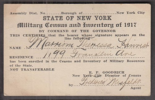(State of New York Military Resources Census & Inventory bearer ID card 1917)