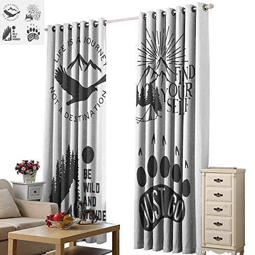 Warm Family Cabin Decor Breathable Curtain Wilderness Hand Drawn Typography Posters Emblems Quotes Hipster Art Darkening and Thermal Insulating W108 x L84 Chorcoal Grey Coconut