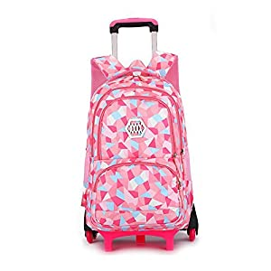 YUB New School Bag Girls' Backpack Wheeled Schoolbag Rolling Backpacks Waterproof Pink with Six Wheels