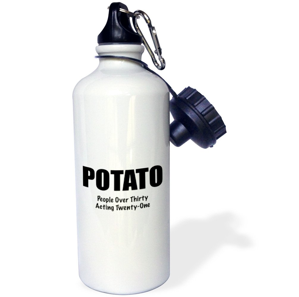 3dRose wb_221083_1'POTATO PEOPLE OVER THIRTY ACTING TWENTY-ONE' Sports Water Bottle, 21 oz, White