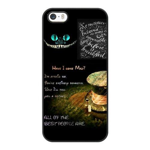 Coque,Apple Coque iphone 5/5S/SE Case Coque, Generic Alice In Wonderland Cover Case Cover for Coque iphone 5 5S SE Noir Hard Plastic Phone Case Cover