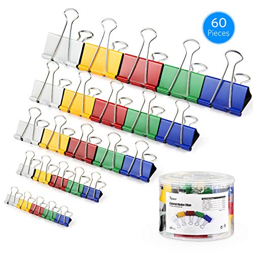 Tdbest Binder Clips Paper Clamp Assorted Sizes Metal Paper Clips Per Tub Perfect for Home, School, Office (60Pcs, Colored) by Tdbest (Image #7)