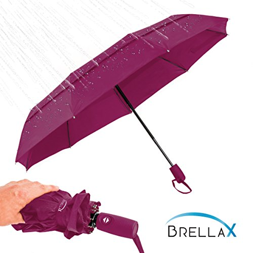 Compact Umbrella for Women and Men by Brellax - Travel umbrella with Case, Lightweight, Windproof - Double Canopy Reinforced - Auto Open / Close, Ergonomic Handle - Purple