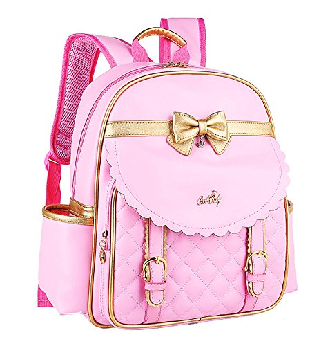 Girl Princess Leather Cute Bowknot Backpack School Casual Fashion Daypack Pink