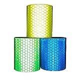 Viewm Reflective Tape 3 Rolls Safety Strips Warning Films 3m × 5cm / 3.28 yard × 2 inch Per Roll (Blue Yellow Green)