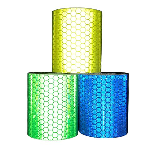 Viewm Reflective Tape 3 Rolls Safety Strips Warning Films 3m × 5cm / 3.28 yard × 2 inch Per Roll (Blue Yellow Green) by Viewm