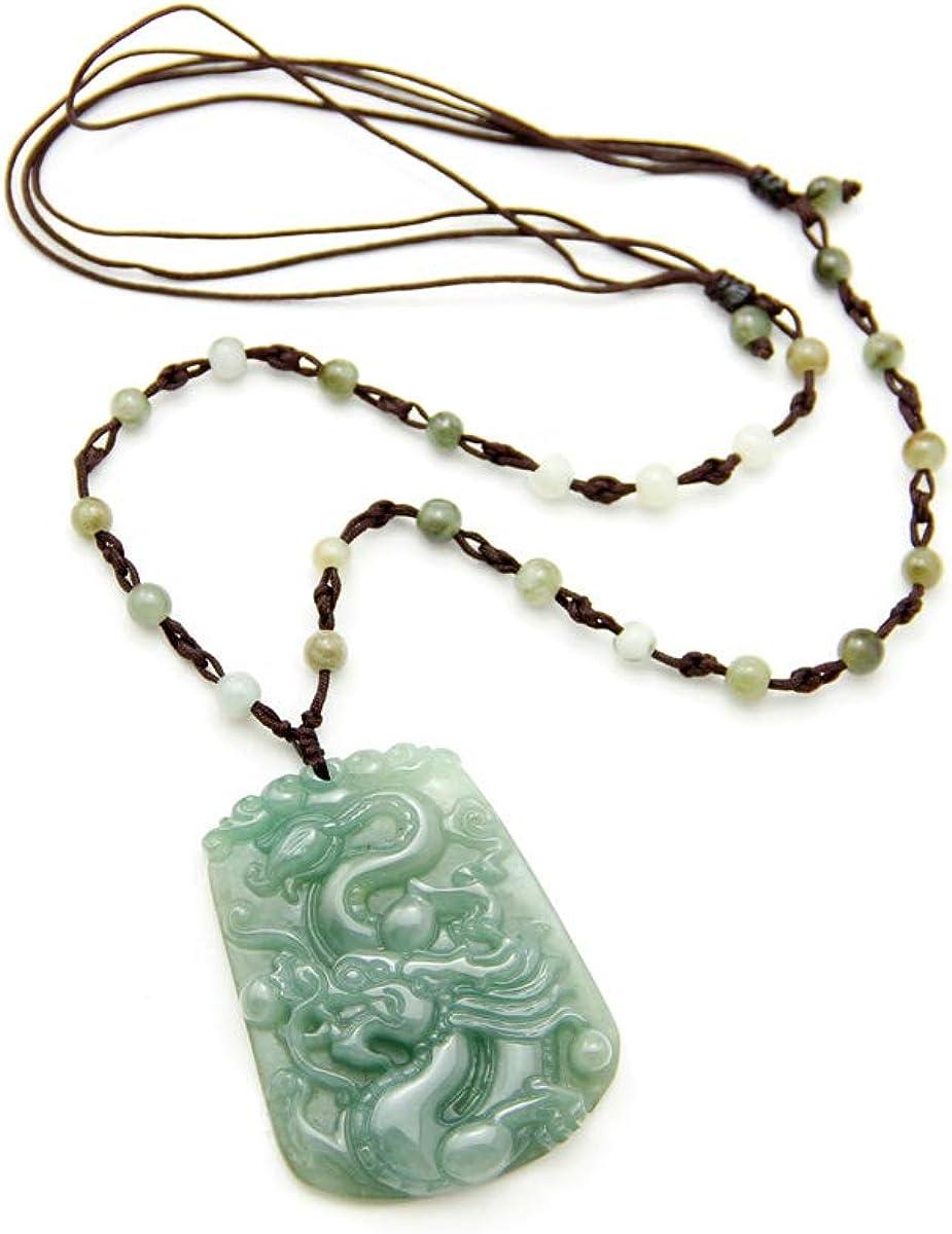 Agathe JCA0162014-Creation-Collar con colgante, diseño de flor, color verde, tipo de piedra natural (A)-para felicidad, hecho A mano