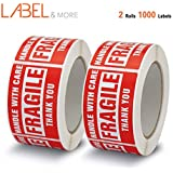"LABEL&MORE Fragile Stickers for Shipping and Home Moving Handle with Care 2"" x 3"" Permanent Adhesive Warning Labels [2 Rolls 1000 Labels]"