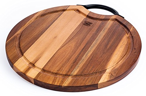 (Superior Trading Co. Acacia Wood Cutting Board with Steel Handle. FDA Approved. 14 in.)