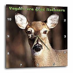 3dRose Lee Hiller Photography Vegan Slogans - Vegan Slogans Vegans Are Good Listeners Whitetail Deer - 10x10 Wall Clock (dpp_28936_1)