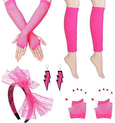 Subiceto Women's 80s Outfit Costume Accessories Set for Women Girls Neon Earrings Lace Headband Fishnet Gloves Leg Warmers Sets Pink