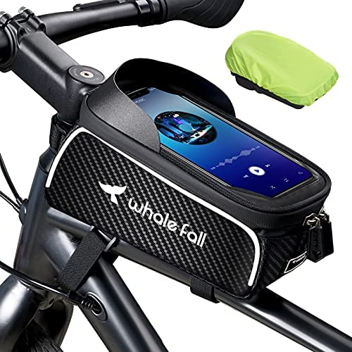 Bike Bag Bike Phone Mount Bike Accessories for Phones Up to 7″, Waterproof Phone Holder for Bike Frame, Bicycle Accessories Bike Top Tube Phone Bag, Thickening Eva Cycling Pouch, with Rain Cover