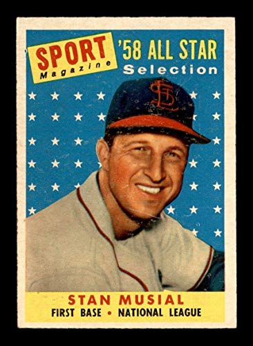 (#476 Stan Musial AS TP HOF - 1958 Topps Baseball Cards Graded EX+ - Baseball Slabbed Autographed Vintage Cards)