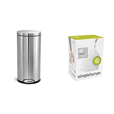 simplehuman 30 litre round step can fingerprint-proof brushed stainless steel + code G 60 pack liners