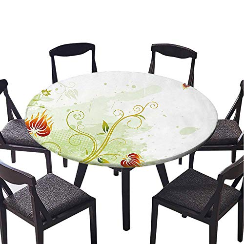 SATVSHOP Modern tablecloth-45 Round-Indoor or Outdoor Party,Floral Swirled Petals Lin on Grunge Background etro Scroll Botany Dign Light Green Pistachio uby.(Elastic Edge) ()