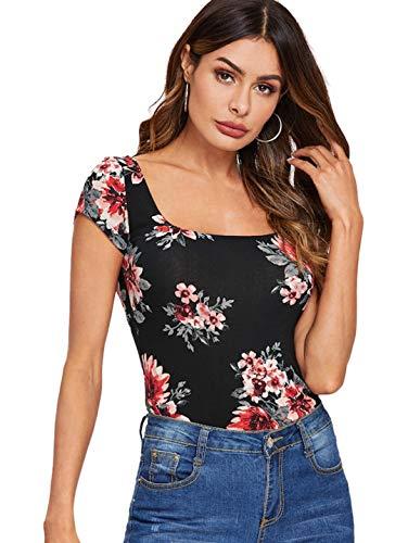 Romwe Women's Floral Short Cap Sleeve Scoop Neck Slim Fit Crop Tee Top Black S - Floral Cap Sleeve Top
