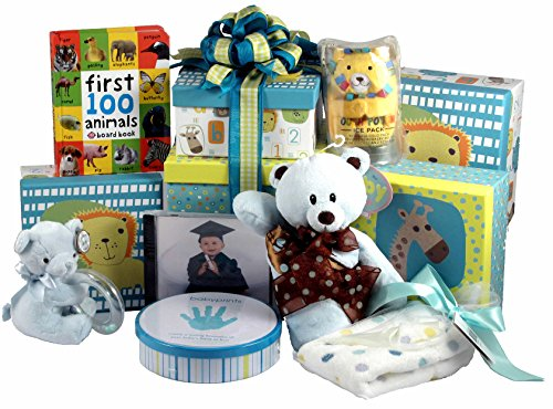 Gift Basket Village: Baby Blocks Tower - Baby Gift Tower for New Mom and Baby Boy or Baby Girl