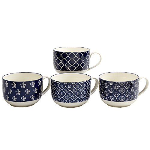 Blue Jumbo Cup (Certified International Blue Indigo Jumbo Cups 32oz, Set of 4 Assorted Designs)