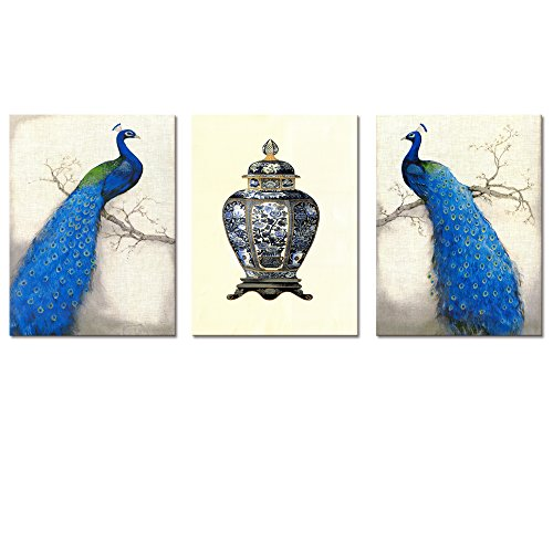 Beautiful Peacock on Tree Painting Printed on Canvas Peacock Canvas Wall Art for Living room Bedroom Classical Design Artwork for Wall Framed and Stretched Easy to Hang