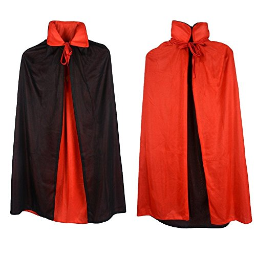 Magician Costume Women (Jesban Black Cape Cloak with Witch Hat, Halloween Costume Party Dress Cloak for Vampire Magician Jafar (55 Inches))