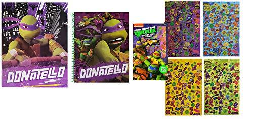 GRP Teenage Mutant Ninja Turtles Back to School Set for Children | TMNT Donatello Portfolio Folder, Wide-Ruled Notebook, and 300 Piece Sticker Booklet