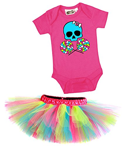 Lollipop Skull Candy Girl One Piece & Tutu Set 18 Months (Candy Skull Costume)
