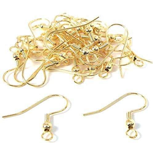 30 Gold Plated Earrings Fish Hook Wires Ball 22 Gauge