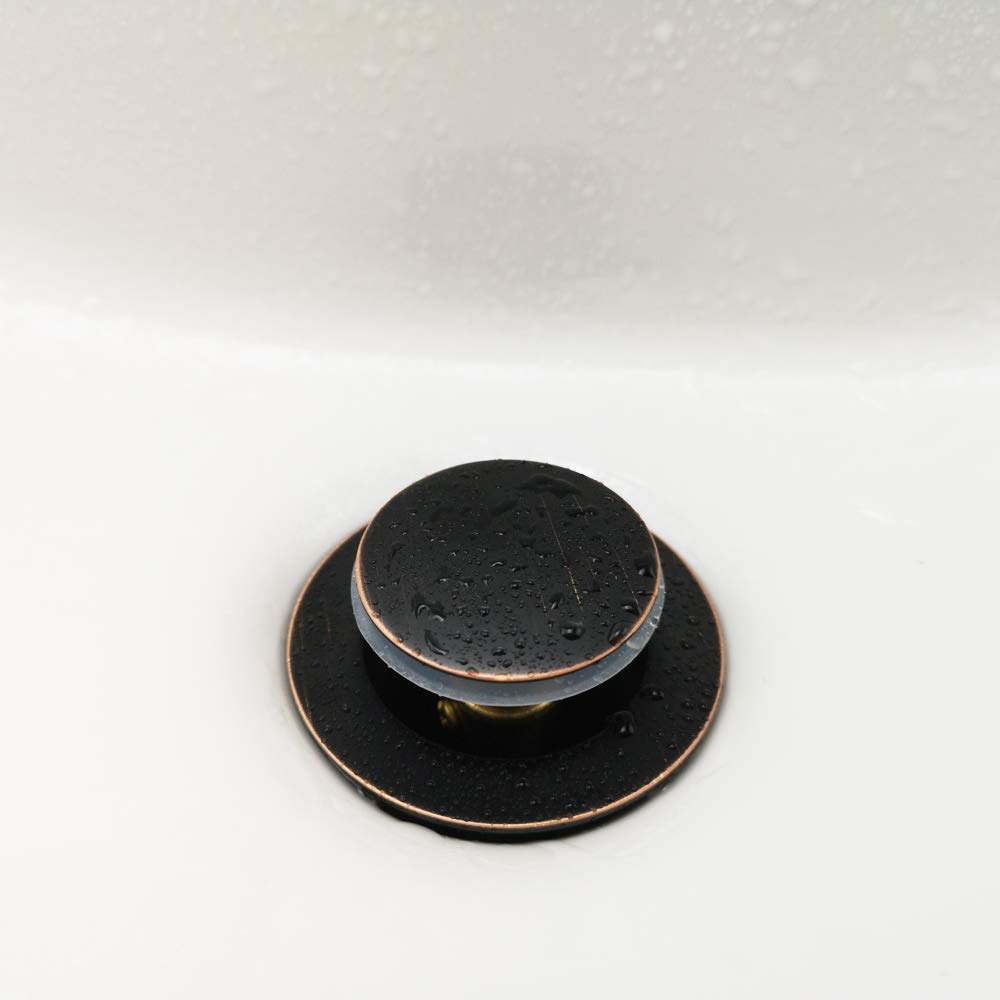 Purelux Bathroom Sink Drain Stopper Faucet Vanity Sink Pop Up Drain Assembly with Overflow Brushed Nickel Finish