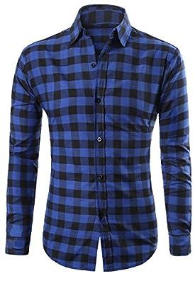 MIEDEON Men's 100% Cotton Long Sleeve Plaid Slim Fit Button Down Dress Shirt