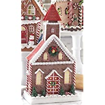Lighted Claydough Gingerbread Church with Candy and Decorations, 14.5 Inch (Battery Operated)