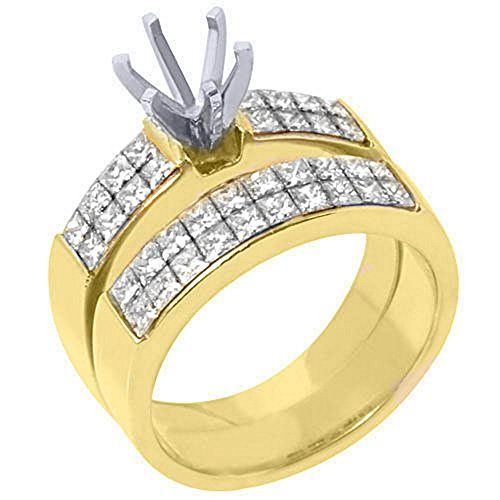 Mount Invisible Gold Semi Set - 18k Yellow Gold Princess Cut Diamond Engagement Ring Semi Mount Set 2 Carats