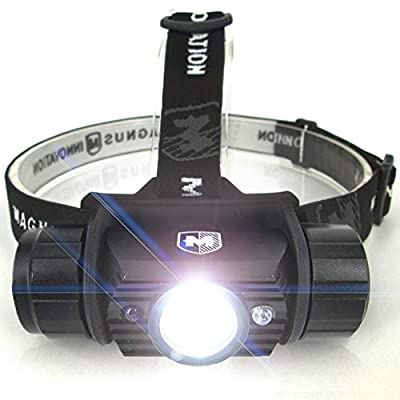 Atlas 400 Lumen USB Camping Construction Headlamp, FREE Extra Battery, NEW Hands Free Motion Sensor, Water Resistant Flashlight with Protective Case -100% Satisfaction Guarantee!