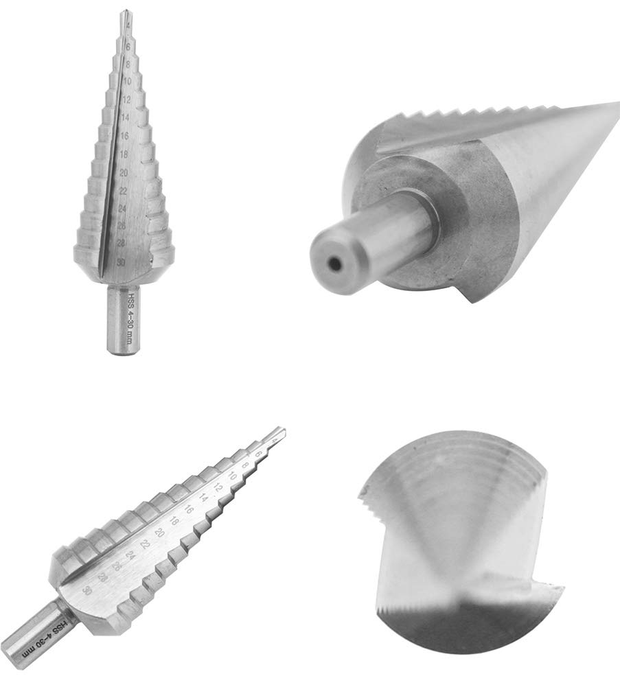 NORTOOLS HSS 3 unidades, 4-12//4-20//4-30 mm Broca escalonada para bricolaje