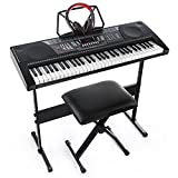 Joy 61-Key Standard Keyboard Kit Including USB Music Player Function, Bundle with Headphone, Stand, Stool, Power Supply (JK-66MKit