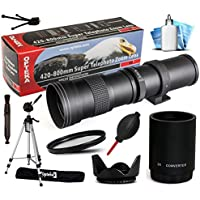 Opteka 420-1600mm f/8.3 HD Telephoto Zoom Lens Bundle Package includes 2X Teleconverter + 70 Tripod Photo/Video Tripod + UV Ultra Violet Filter + Tulip Hood + Air Dust Blower + Cap Keeper + Lens Pen + Cleaning Kit for Canon EOS 6D, 7D, 7D Mark 2 II, 60D, 60Da, 70D, 100D, 550D, 600D, 650D, 700D, 1100D, 1200D, 5D Mark II III 2 3 5DM2 5DM3, 1D Mark 3 4 III IV 1Dx 1D X, Rebel SL1, T2i, T3, T3i, T4i, T5, T5i, Kiss X4, X5, X6i, X7i, X50, X70 DSLR SLR Digital Camera
