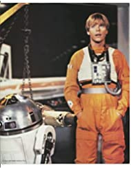 Star Wars Mark Hamill as Luke in orange flight suit with R2D2 8 x 10 inch Photo