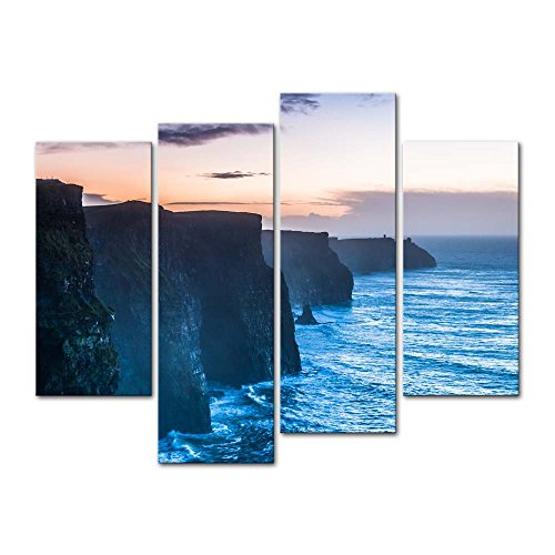- Wall Art Decor Poster Painting On Canvas Print Pictures 4 Pieces Beautiful Cliffs Of Moher At Sunset In County Clare Ireland Europe Seascape Coast Framed Picture For Home Decoration Living Room Artwork