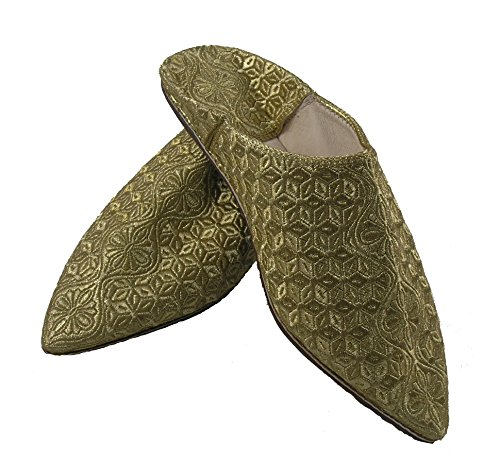 Orientalische Schuhe Babouche Hausschuhe Pantoffel Slipper aus Marokko - Damen Hausschuhe aus Leder-Brokat , Handarbeit aus Fes Gold
