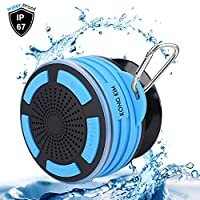 Portable Bluetooth Speaker IP67 Waterproof 5W Audio Driver Wireless Shower Speaker with Built-in Mic, HD Deep Stereo Bass, Led Mood Lights, Detachable Suction Cup