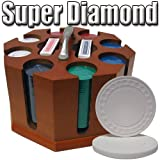 200 Ct Super Diamond 8.5 Gram Clay Poker Chip Set w/ Wooden Carousel