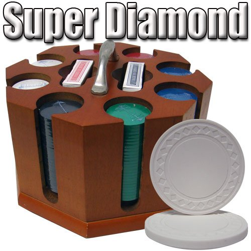 200 Ct Super Diamond 8.5 Gram Clay Poker Chip Set w/ Wooden Carousel by Brybelly