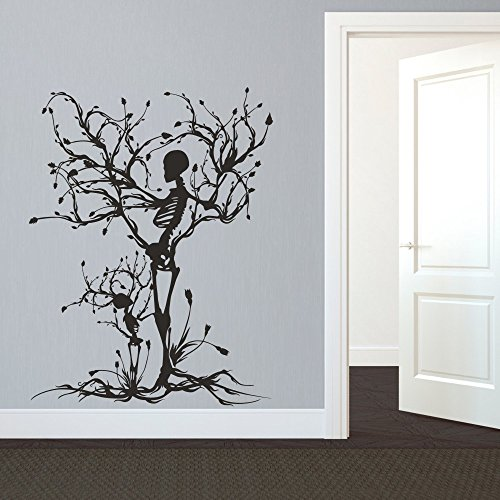 MairGwall Gothic Wall Decal Halloween Decor Skeleton Art Sticker Tree Wall Art For Living Room (60