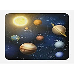 Ambesonne Educational Bath Mat, Realistic Illustration of Solar System Sun Planets Orbit Astronomy Outer Space, Plush Bathroom Decor Mat with Non Slip Backing, 29.5 W X 17.5 W Inches, Multicolor