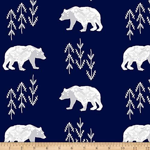 Shannon Fabrics Shannon Premier Prints Minky Bearfoot Cuddle Fabric, Navy, Fabric By The Yard
