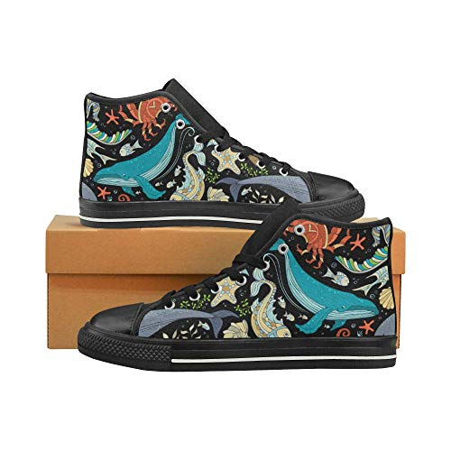 cheap Women's High Top Canvas Shoes Trainers Sneakers Turtle Octopus Whale Prints