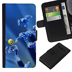 KingStore / Leather Etui en cuir / Samsung Galaxy A3 / Arte Smiley Mariposa Naturaleza Azul Wallpaper