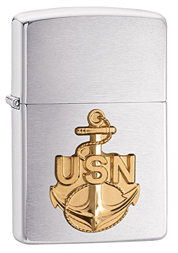 Zippo United States Navy Emblem Pocket Lighter, Brushed ()