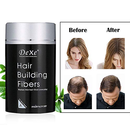 Dexe Hair Building Fibers,Miyshow Hair Thickening Fibers with Natural Keratin for Thinning Hair or Bald Spots Hair Loss Concealer Powder for Men and Women (Medium Brown) (Best Hair Building Fibers)
